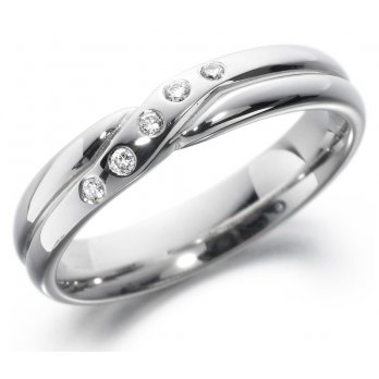 18ct White Gold Crossover Diamond Set Band