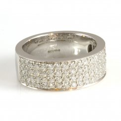 18ct White Gold Four Row Diamond Half Eternity Ring