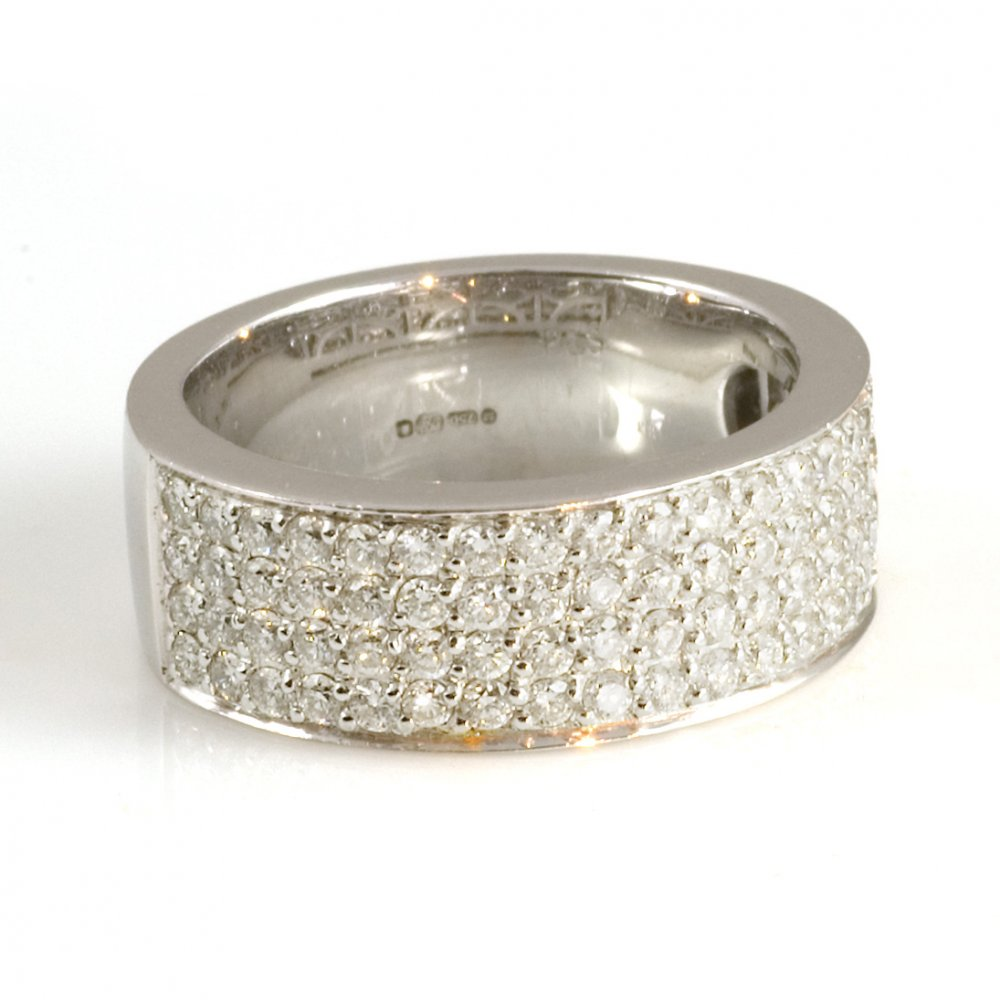 18ct white gold four row half eternity ring from