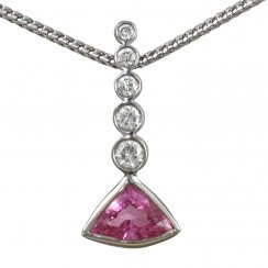 18ct White Gold Pink Sapphire and Diamond Pendant on Chain