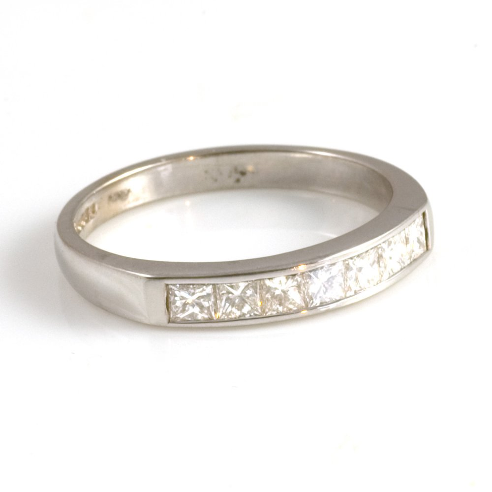 18ct White Gold Princess Cut Diamond Half Eternity Ring