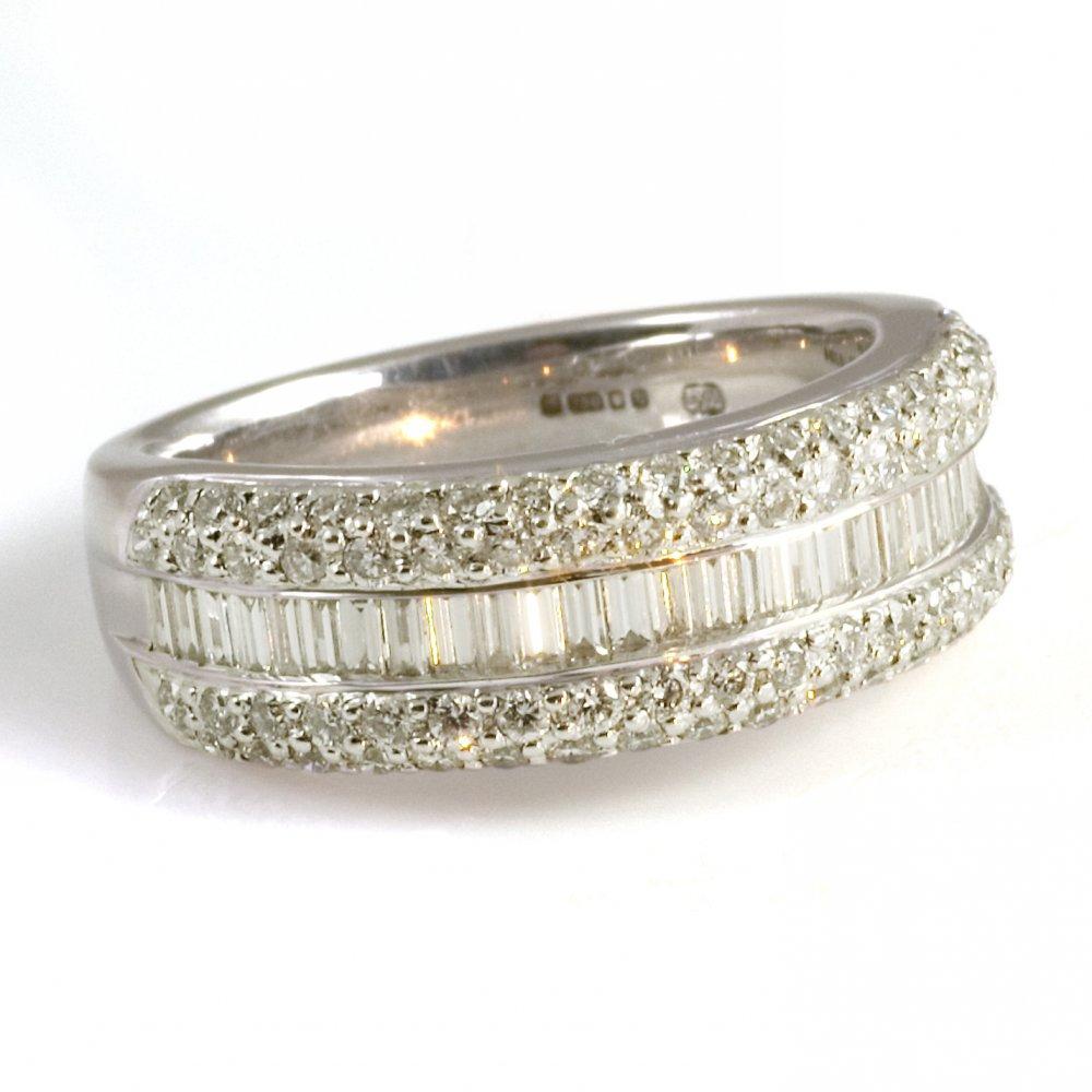 18ct White Gold Three Row Diamond Half Eternity Ring