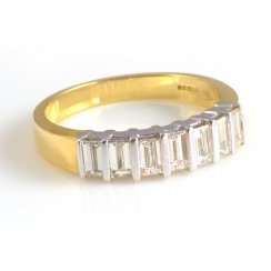 18ct Yellow Gold Baguette Cut Diamond Half Eternity Ring