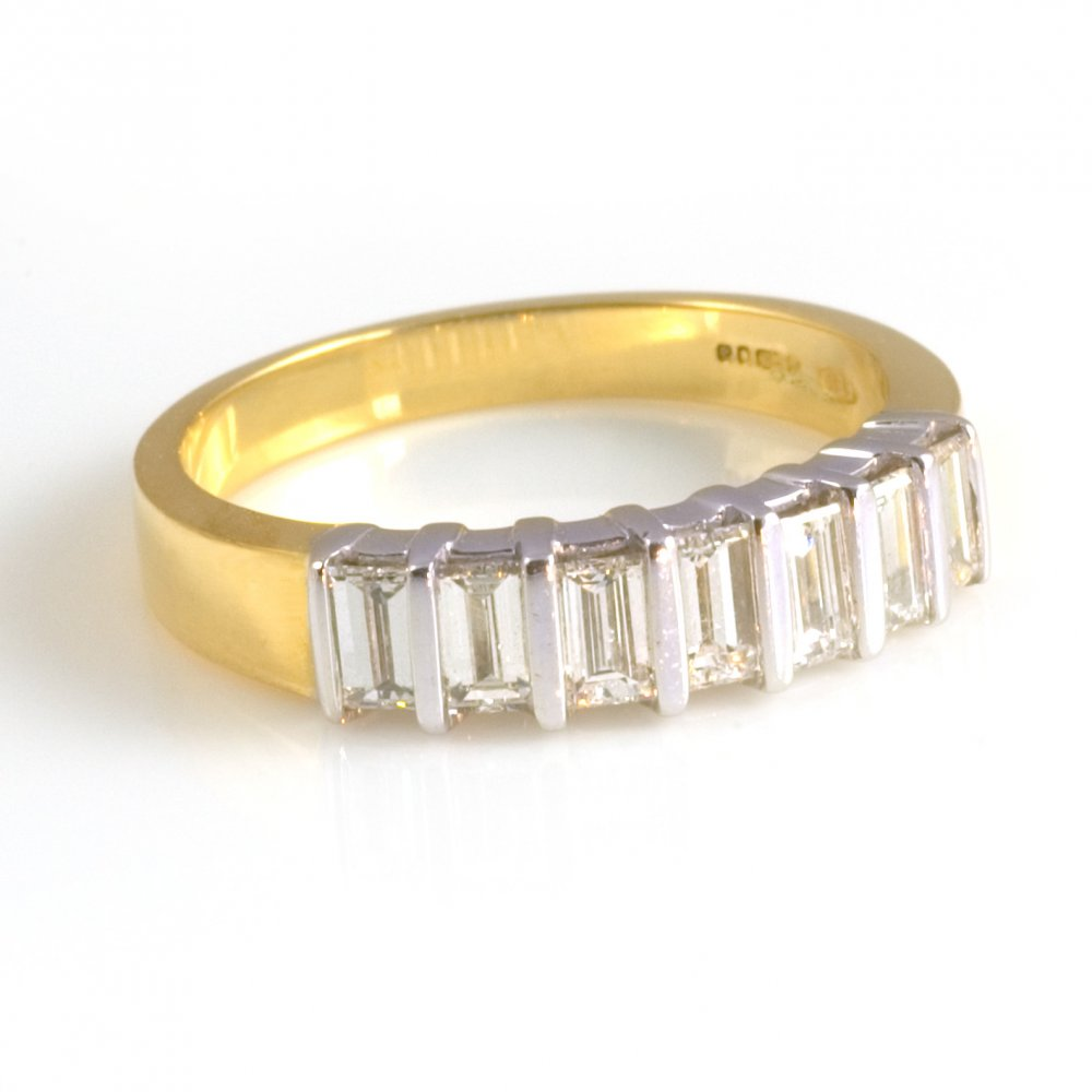 18ct yellow gold baguette cut half eternity ring