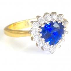 18ct Yellow Gold Blue Sapphire and Diamond Cluster Ring