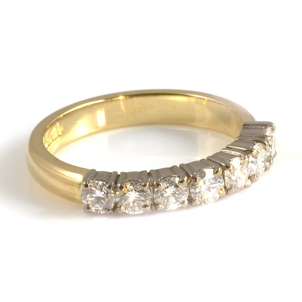 18ct yellow gold claw set half eternity ring
