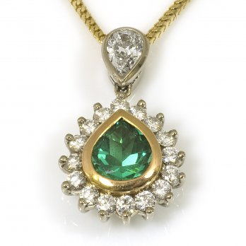 18ct Yellow Gold Emerald and Diamond Drop Pendant