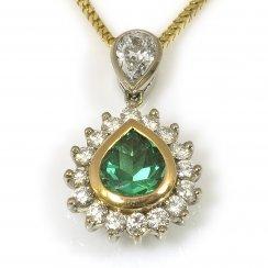 18ct Yellow Gold Emerald and Diamond Drop Pendant