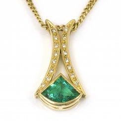 18ct Yellow Gold Emerald and Diamond Pendant
