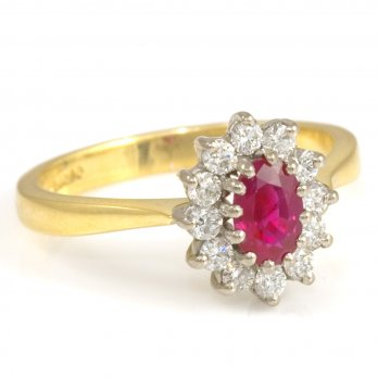 18ct Yellow Gold Oval Ruby and Diamond Cluster Ring
