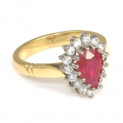 18ct Yellow Gold Pear Shape Ruby & Diamond Cluster Ring