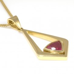 18ct Yellow Gold Triangle Ruby Pendant