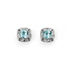 9ct White Gold Diamond and Aquamarine Stud Earrings by Elements Gold