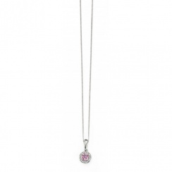 9ct White Gold Pink Sapphire and Diamond Pendant
