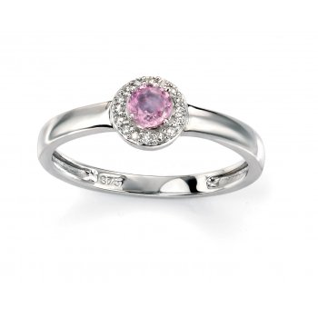 9ct White Gold Pink Sapphire and Diamond Ring