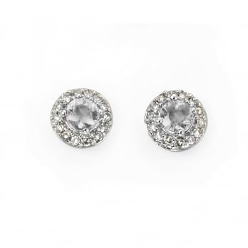 9ct White Gold White Topaz and Diamond Earrings