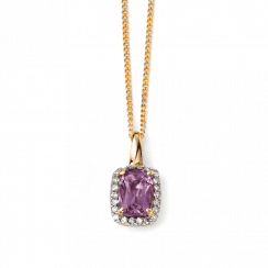 9ct Yellow Gold Diamond and Amethyst Pendant by Elements Gold(chain not inc)