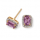 9ct Yellow Gold Diamond and Amethyst Stud Earrings by Elements Gold