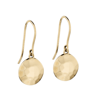 Elements Gold 9ct Yellow Gold Hammered Disc Drop Earrings by Elements Gold
