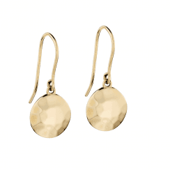 9ct Yellow Gold Hammered Disc Drop Earrings by Elements Gold
