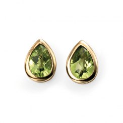 9ct Yellow Gold Peridot Teardrop Stud Earrings by Elements Gold
