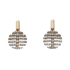 9ct Yellow Gold Split Circle Diamond Earrings by Elements Gold