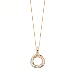 9ct Yellow, White and Rose Gold Pendant by Elements Gold- chain not included