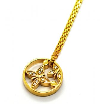 Babette Wasserman Butterfly and Pollen Gold Plated Silver Necklace
