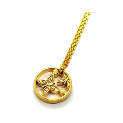 Butterfly and Pollen Gold Plated Silver Necklace