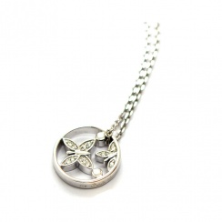 Butterfly and Pollen Rhodium Plated Silver Necklace