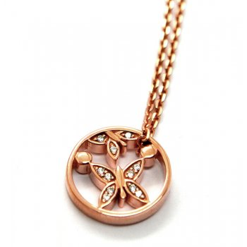Babette Wasserman Butterfly and Pollen Rose Gold Plated Silver Necklace