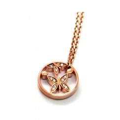 Butterfly and Pollen Rose Gold Plated Silver Necklace