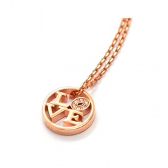 Love Rose Gold Plated Silver Necklace