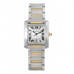Large Tank Française Stainless Steel and 18ct Gold Watch