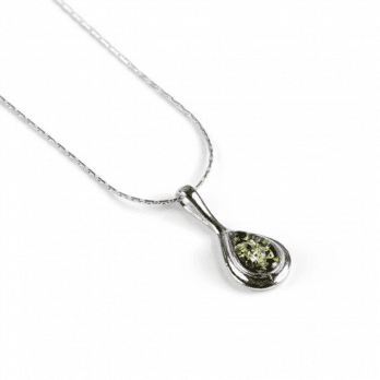 Henryka Classic Henryka Teardrop Necklace in Silver and Green Amber