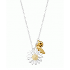 DAISY & FEATHER DROP 15MM NECKLACE