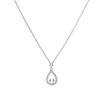 Diamonfire 0.55 ct teardrop shape silver pendant with white shell pearl and cubic zirconia