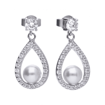 Diamonfire 1.1 ct teardrop shape drop earrings with white shell pearls and cubic zirconia