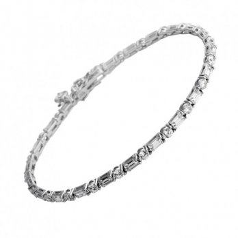 Diamonfire Round & Baguette Full Tennis Bracelet