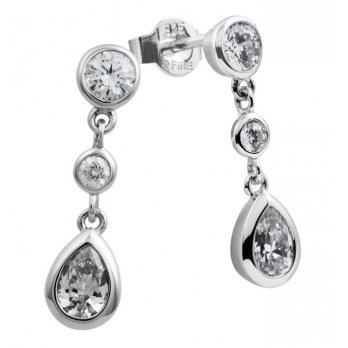 Diamonfire Silver Diamonfire Pear Drop Earrings