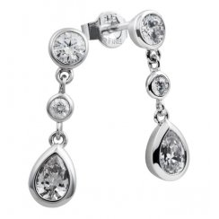 Silver Diamonfire Pear Drop Earrings