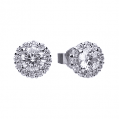 Diamonfire Solitaire 1.36 ct pave set stud earrings with cubic zirconia