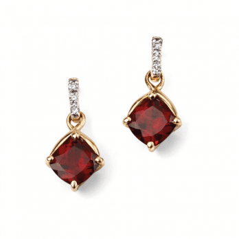 Elements Gold 9ct Gold Diamond and Garnet drop earrings