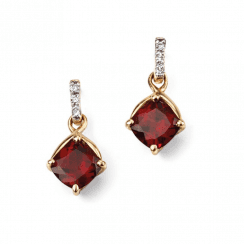 9ct Gold Diamond and Garnet drop earrings