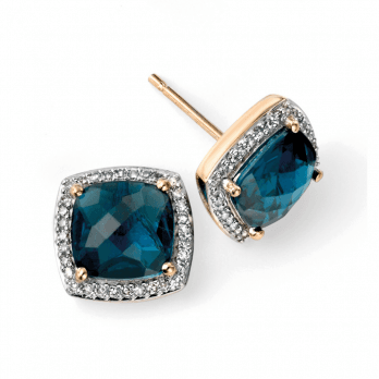 Elements Gold 9ct London Blue Topaz and Diamond Earrings