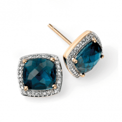 9ct London Blue Topaz and Diamond Earrings