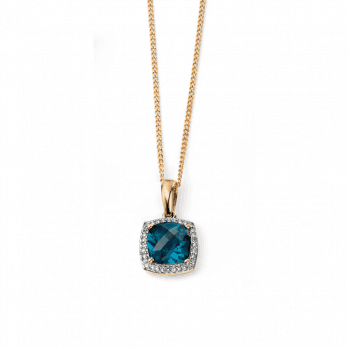 Elements Gold 9ct London Blue Topaz with diamonds (chain not included )