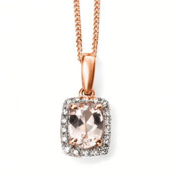 Elements Gold 9ct Rose Gold Diamond and Pink Morganite pendant(chain not inc)