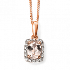 9ct Rose Gold Diamond and Pink Morganite pendant(chain not inc)