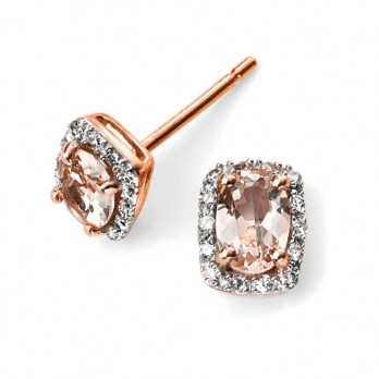 Elements Gold 9ct Rose Gold Morganite and Diamond Earrings